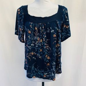 LUCKY BRAND Navy Blue Floral Print Top